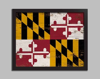 Maryland Flag Home Wall Decor Art Canvas Paper Print Printed 0194 FREE SHIPPING