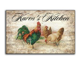 Chicken Rooster Personalized Kitchen handmade wood sign Country Farmhouse Hen decor custom wooden wall decor coop signs chicken poultry wire