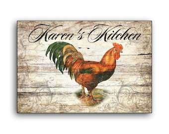 Rooster Personalized Kitchen handmade wood sign Country Farmhouse Barnyard decor custom wooden wall decor coop signs chicken poultry wire