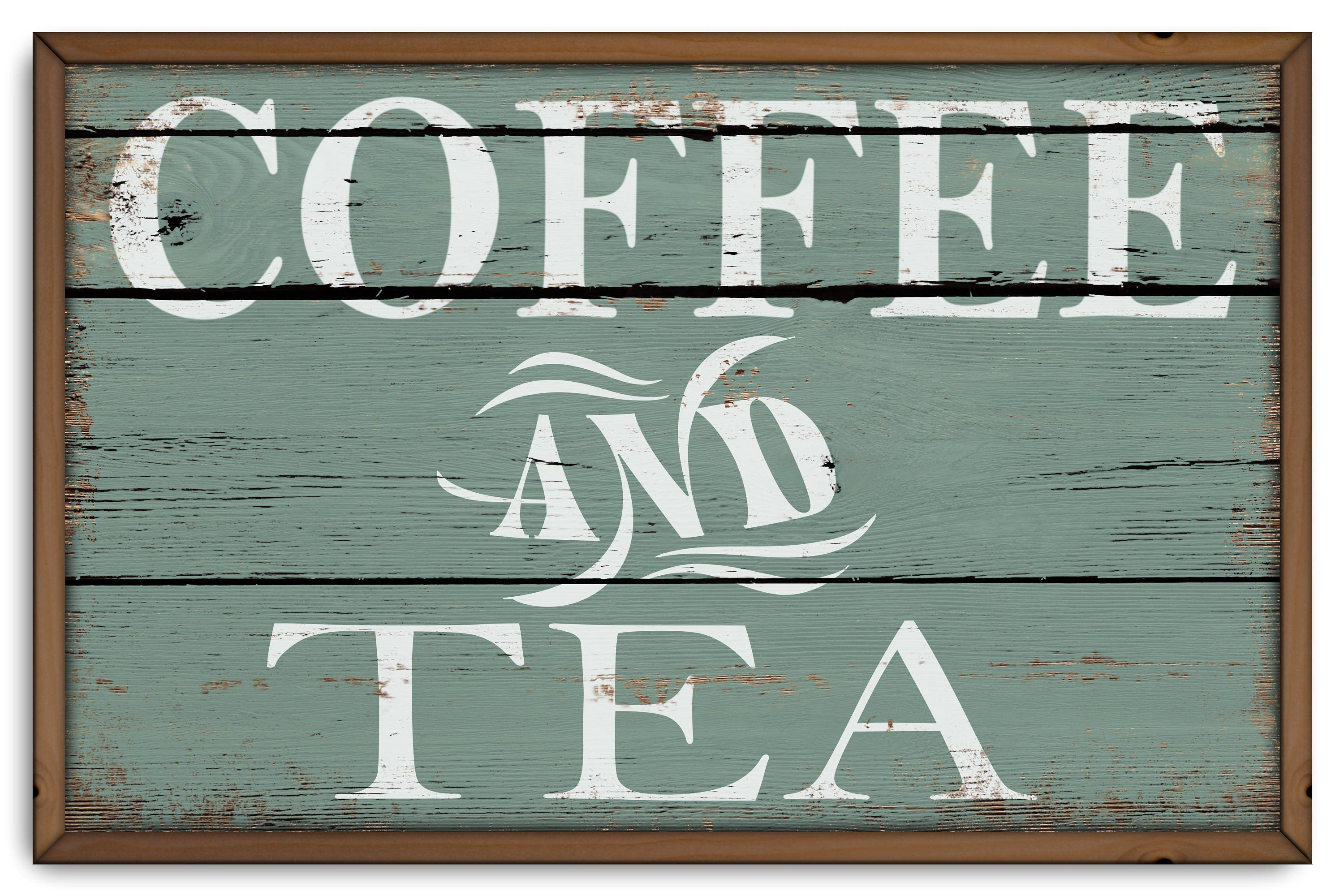 Coffee and Tea wood Framed frame wooden sign handmade Kitchen   Etsy