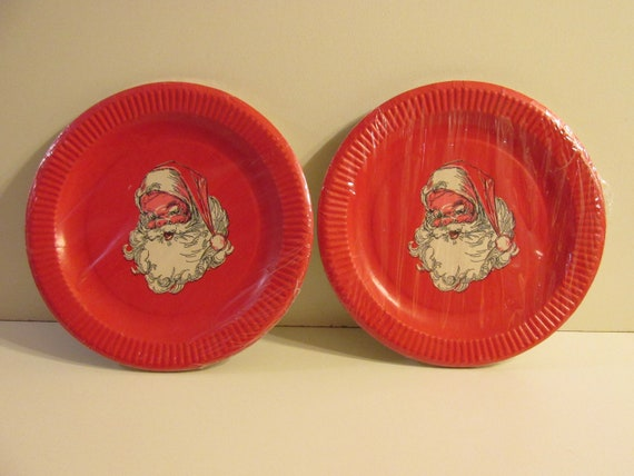 Christmas Paper Plates.2 Vintage Packages Christmas Paper Plates 7 1 2 W 8 Each Jolly Santa Face Red White Black