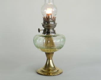 Antique French Oil Lamp with Pale Green Glass