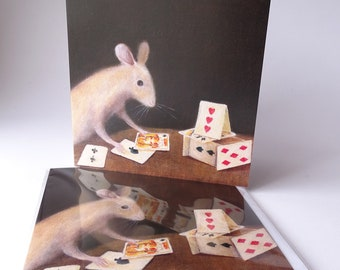 """Single Greetings Card of an original painting: Animal Painting """"House of Cards (After Chardin)"""""""