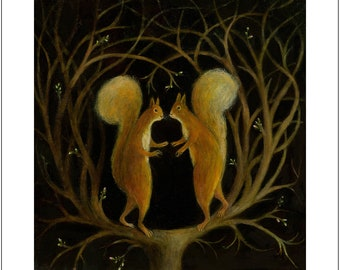 """Fine Art Print of an Original Animal Painting: """"Lovers of the Dry Tree"""""""