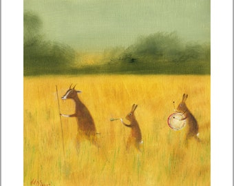 """Fine Art Print of an Original Animal Painting: """"The Strolling Players"""""""