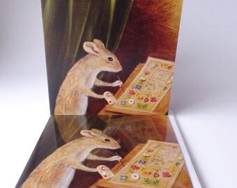 "Single Greetings Card of an original painting: Animal Painting ""Didymus Mountain Decorating 'The Profitable Art of Gardening'"""