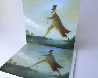 """Single Greetings Card of an original painting: """"The Uppingham Giant"""""""