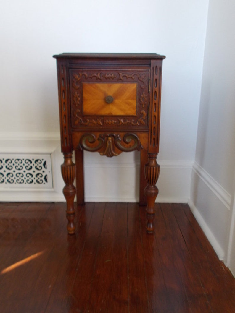 Circa 1940 Vintage Carved Walnut Night Stand At Ancient Of Daze