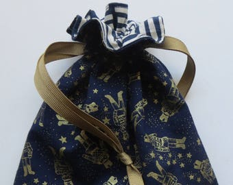 Gold Metallic Soldiers on Navy Lined Drawstring Fabric Holiday Gift Bag