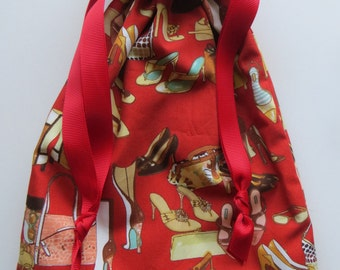 Purses and Shoes Lined Drawstring Fabric Bag