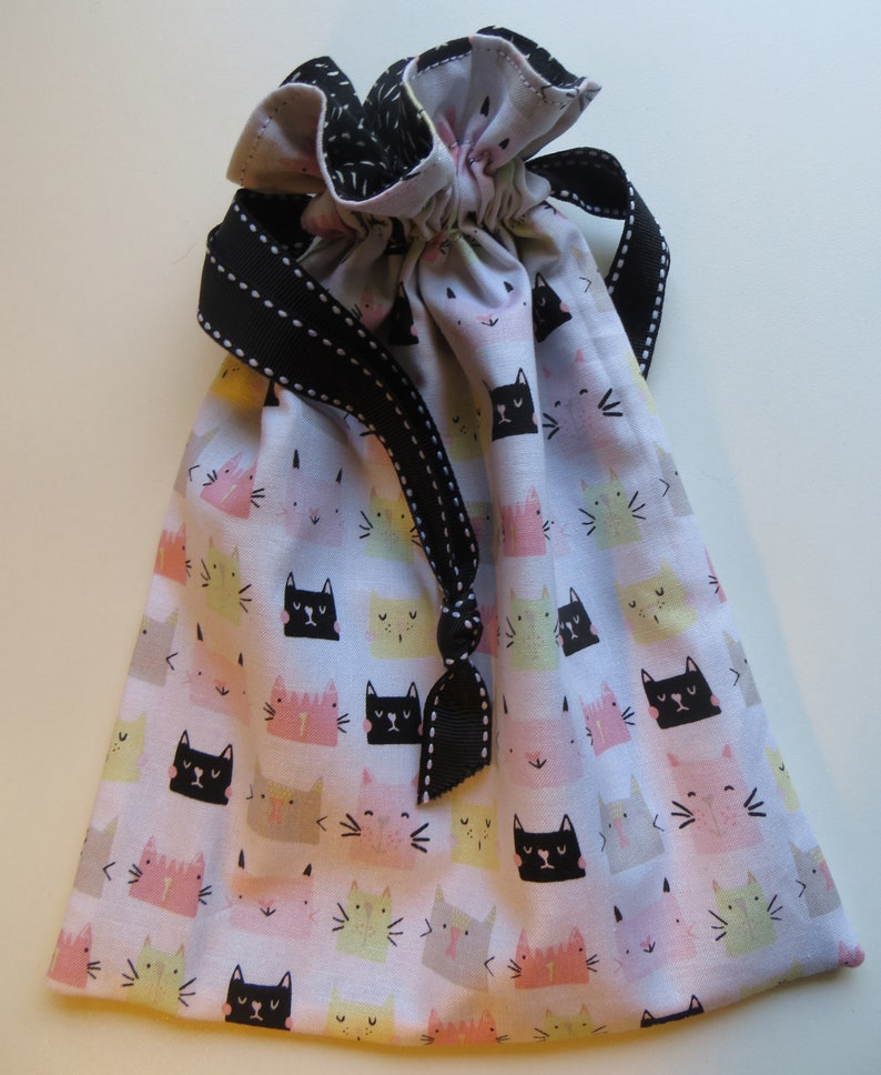 Kitty Cats and Dashes Lined Drawstring Fabric Gift Bags