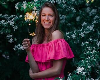 Women's linen off shoulder bridesmaid's dress, Linen ruffle dress, Pink linen dress, Sleeveless dress, Summer dress, Beach dress