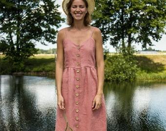 San Jose Dress -Pink Dress - Linen Dress - Summer Dress - Simple Linen Dress - Linen Clothing - Women Dress - Beach Dress - Long Linen Dress