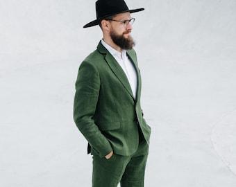 Waikiki suit, Men linen suit, 2 piece wedding groom linen suit, Groomsmen linen suit, Summer linen suit, Classic linen suit men, Green suit