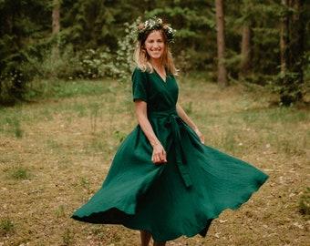 Lisbon Dress - Wrap Linen Dress - Linen Dress - Romantic Dress - Wide Skirt Dress - Linen Clothing - Summer Dress- Green Dress - Women Dress