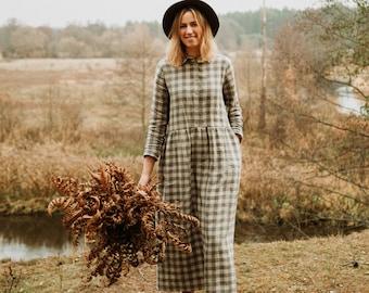 Canberra Dress - Linen Dress - Maternity Linen Dress - Autumn Dress - Long Sleeve Dress - Loose Fit Dress - Classic Dress - Romantic Dress