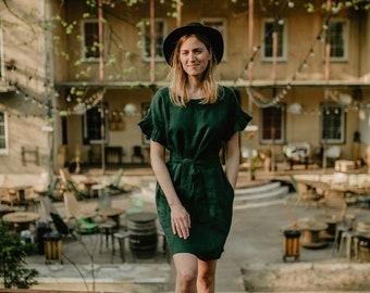 San Diego Dress - Linen Dress - Green Dress - Oversized Dress - Linen Clothing - Loose Fit Dress - Boho Linen Dress - Ruffle Dress