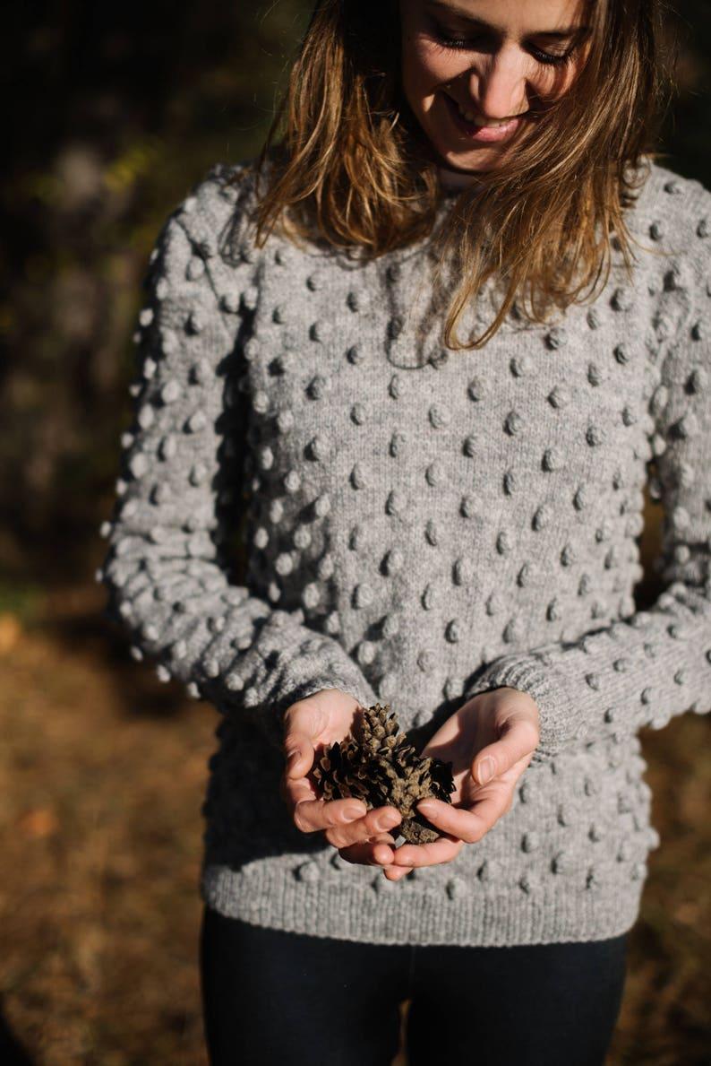 ba8f7845d9d Merino Wool Sweater Grey Sweater Pom Pom Sweater Bubble