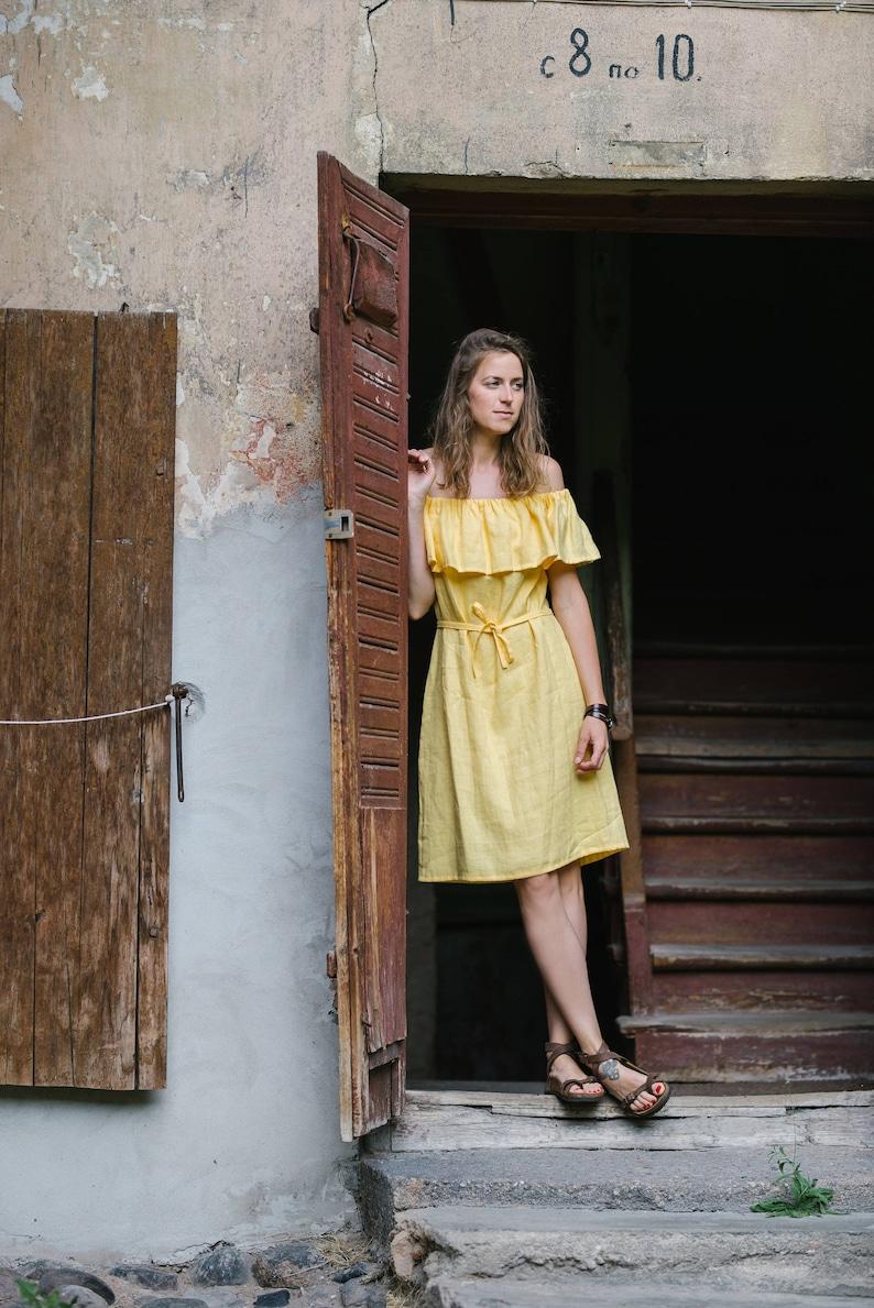 Off Shoulder Dress Linen Dress Bridesmaid/'s Dress Romantic Dress Wedding Dress Summer Dress Yellow Dress Short Dress