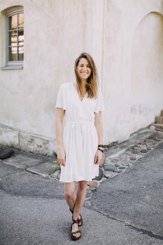 Brautkleid Taufe Weißes Kleid Sommerkleid Klassiker Gemütliches Kleid Kleid Strand Brautkleid ärmeln Handgefertigte Kleid Mit