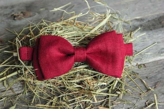 Linen Bow Tie - Burgundy Bow Tie - Rustic Bow Tie - Bow Tie For Men - Bow Tie For Boys - Wedding Bow Tie - Party Bow Tie