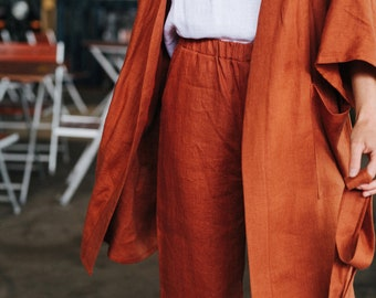 Tokyo Pants - Linen Pants - Linen Culottes - Loose Fit Linen Pants - Wide Linen Pants - Redwood Pants - Washed Linen Pants
