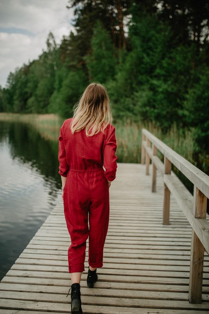 Linen Overall Long Linen Romper Linen Jumpsuit Loose Fit Linen Jumpsuit Women Romper Jumpsuit With Buttons
