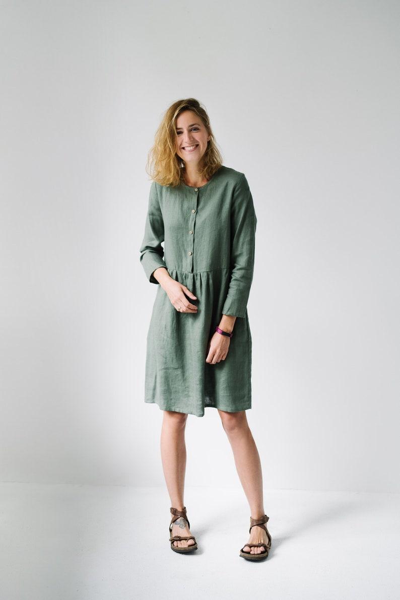 db490a302573a Linen Dress Maternity Dress Linen Clothing Long Sleeve | Etsy