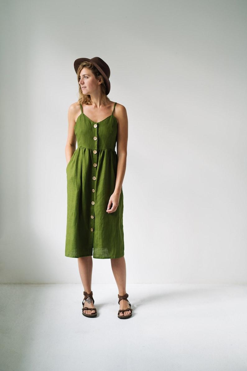 b424d49383 Green Dress Linen Dress Summer Dress Slip Linen Dress