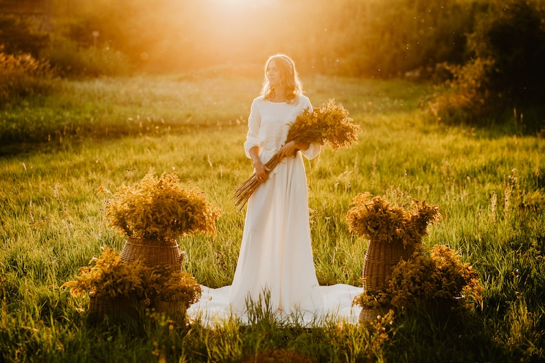 Los Angeles Dress  Boho Wedding Dress  Linen Wedding Dress  image 0