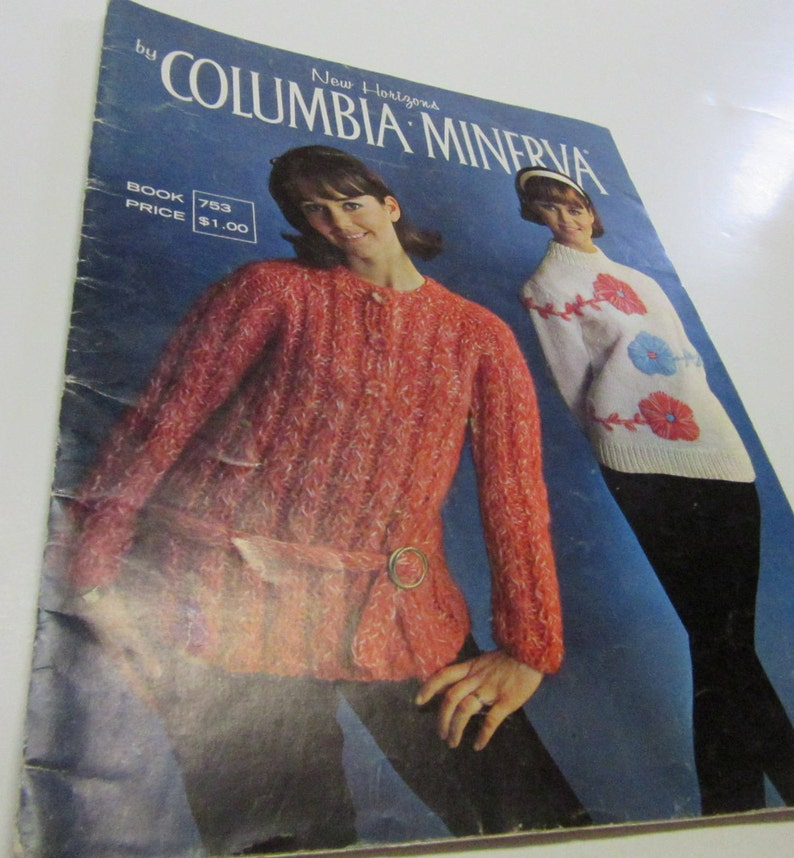 Vintage Knitting Book New Horizons Columbia Minerva Patterns Sweaters  Pullover Jacket Mans Womans Winter DIY Raglan Shell Chrristmas Gift