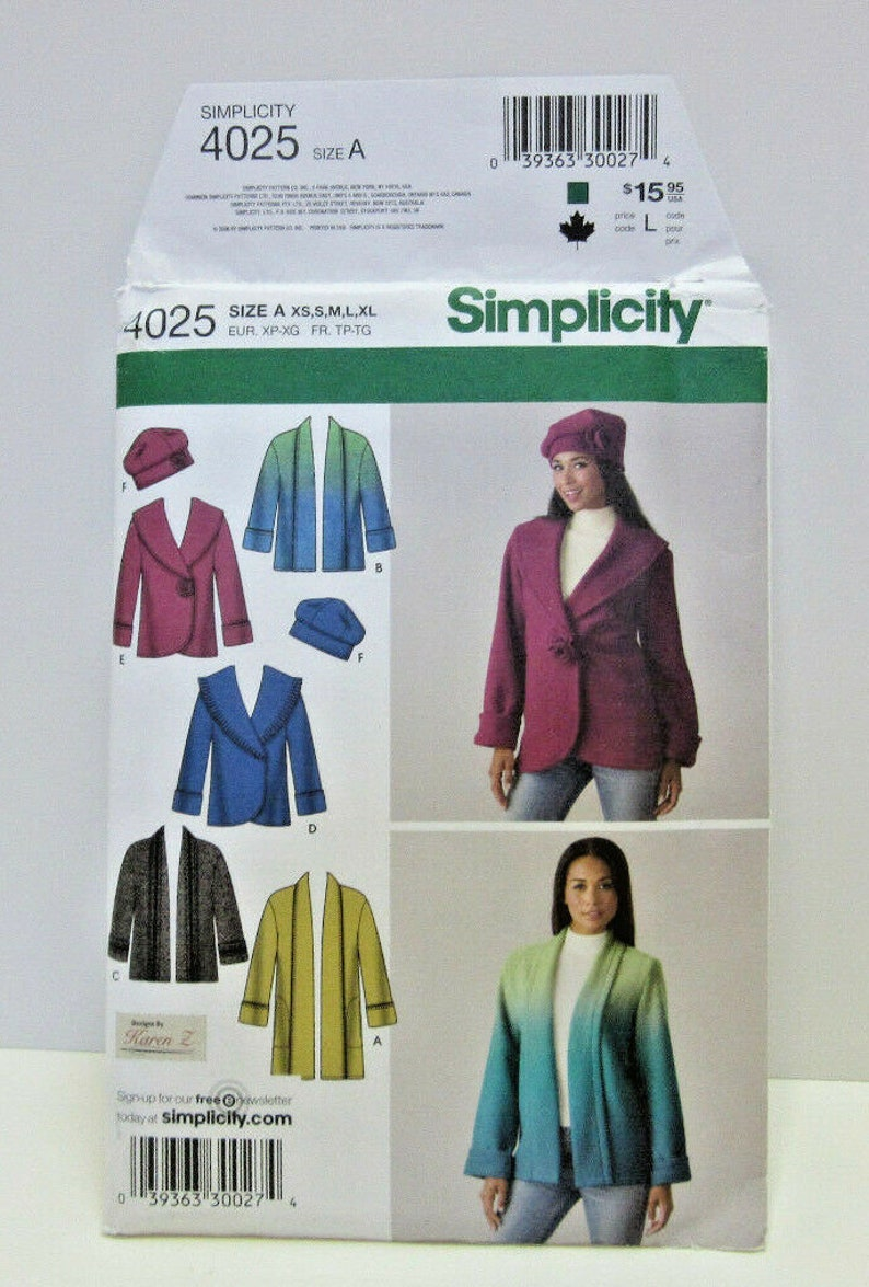 8a0126c19dc75 Fleece Jacket Pattern Beret Hat Simplicity 4025 Winter
