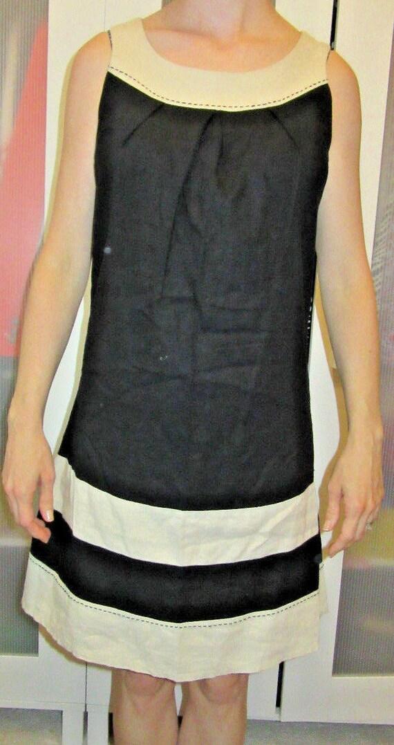 Vintage Black Linen Dress Shift White Border Mod Retro Office Etsy