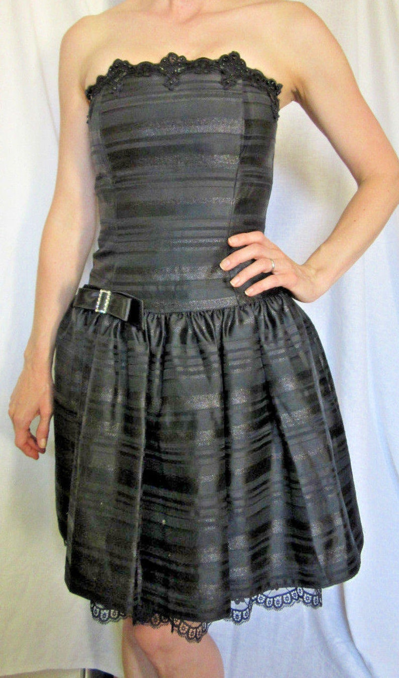 23e36c7ae69 Vintage Jessica McClintock PROM Black Formal Dress Strapless
