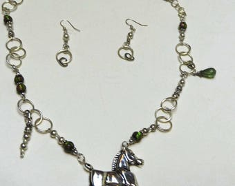 Horse Necklace and Earrings Matching SET Pendant Equestrian Birthday Gift Hand Crafted Unique One of a Kind Silver Pierced Ear