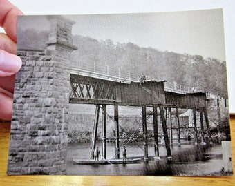 Vintage Real Photo Train 1880 Whitney on Wye Toll Bridge Railway Collectable Photograph Retro British Railroad England UK Unused NEW