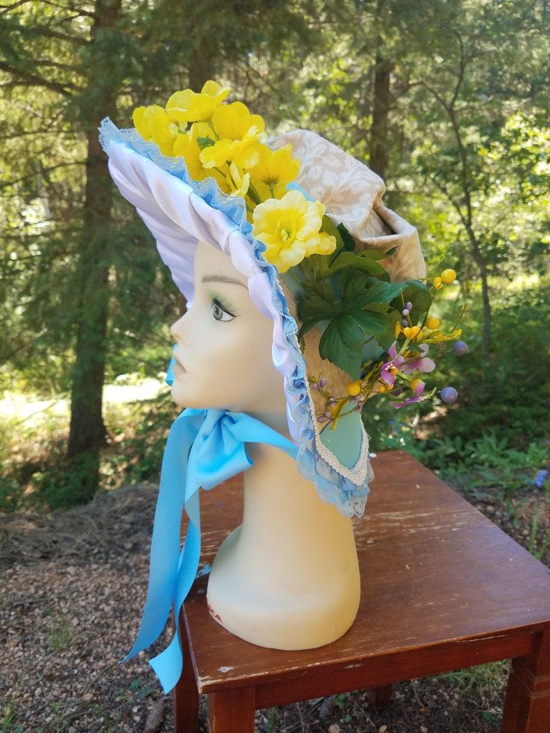 Adult one size Caroler Bonnet Christmas Dickens Historical Regency Picnic Summer