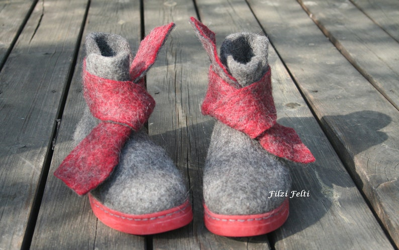 new concept ec819 7c19d New Warm Wool Boots for Women in Gray with very soft Sole in Red EU 37, US  6 1/2 UK 4, Filzi Felti Schuhe, Herbst Schuhe Damen