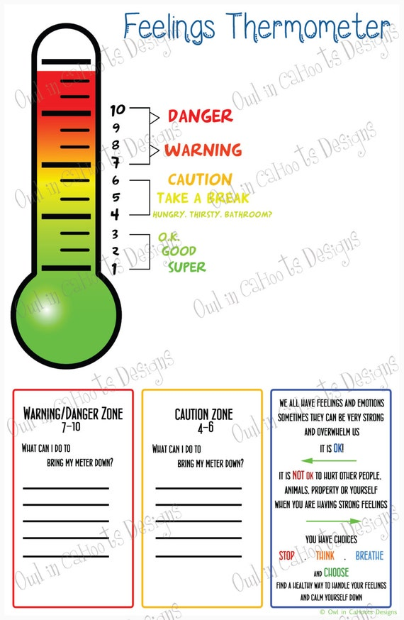 feelings thermometer chart digital download behaviorvisual etsy