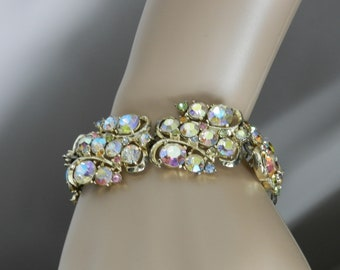 Super Glam Rousseau 1950s Bracelet, Vintage Signed (House of) Rousseau Rainbow Aurora Borealis Glass Bracelet Rousseau High End Jewelry
