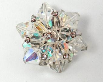 Statement Crystal Aurora Borealis Brooch Pin Vendome? Wedding Broche Jewelry Bridal Vintage Jewelry RIVOLI Brooch Pin gift