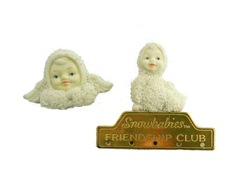 Vintage Snowbabies Brooches, Set of 2 brooch pin lot, collectible snowbabies, christmas pins, christmas jewelry accessories, gift for her