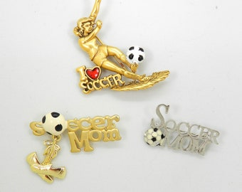 Vintage Soccer Pin Lot of 3 Soccer Mom Collection 1990s vintage Sports pin jewelry gift for her badge pins figural pin gift for her