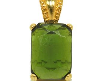 Vintage Joan Rivers Pendant, Joan Rivers Jewelry Jewellery, Large Cut Green Glass, Gold Finish Setting, Collectible Fashion, Gift for Her