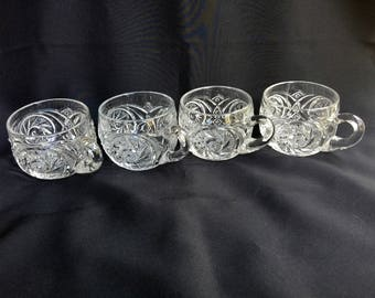 Set of Four (4) Clear Glass Punch Cups