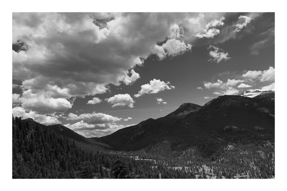 Black and White Mountain Photo Print, Shadows Over The Valley,     (Hi-Res Digital Download)