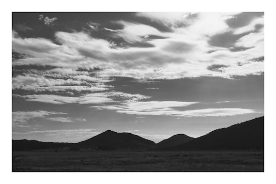 Clouds Over Hills,  Black and White Fine Art Photography Print   (Hi-Res Digital Download)