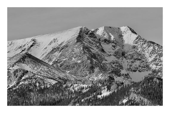 Black and White Mountain Photo Print, Stark Mountain Peaks,     (Hi-Res Digital Download)