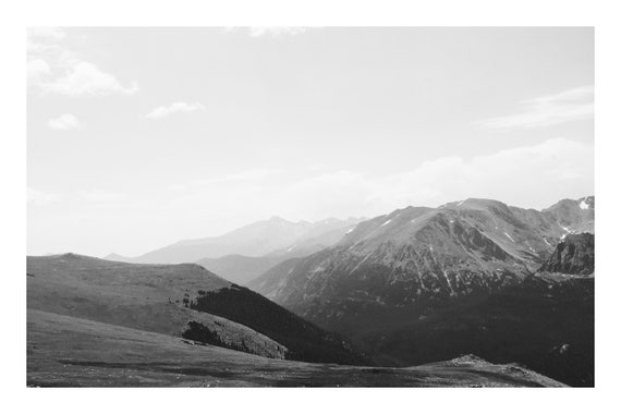Black and White Mountain Photo Print, Misty Mountain Peaks,     (Hi-Res Digital Download)