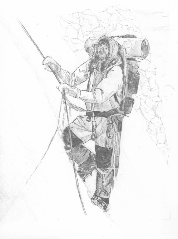 "Mountain Climber  (Original) 9""x12"" Pencil Sketch | Graphite | Art | Custom Pencil Art | Wilderness Art | Decor | Minimalist | Gift"